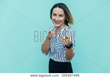 Hey You! Sensual Business Woman, Pointing Finger And Looking At Camera.