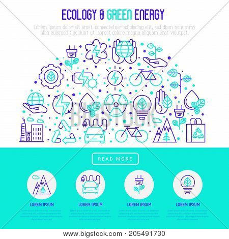 Ecology and green energy concept in half circle with thin bicolor line icons for environmental, recycling, renewable energy, nature. Vector illustration for banner, web page, print media.