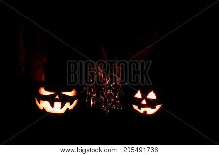 Halloween Pumpkins Formidable And Funny, Glow From Within And Around Them Flames Flames Located On T
