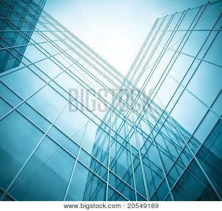 transparent glass wall of contemporary business building