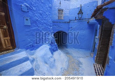 Street With Stairs In Medina Of Chefchaouen, Morocco. Chefchaouen Or Chaouen Is Known That The House