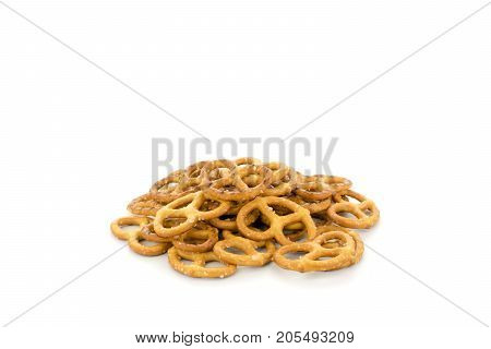 A bunch of pretzels on white background, isolated.