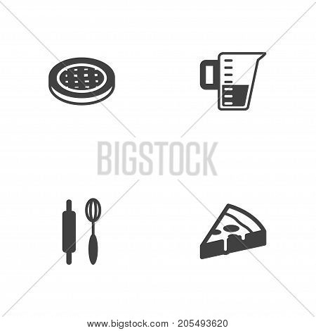 Collection Of Pepperoni, Cake, Measurement And Other Elements.  Set Of 4 Bakery Icons Set.