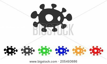 Bacteria icon. Vector illustration style is a flat iconic bacteria symbol with black, gray, green, blue, yellow color variants. Designed for web and software interfaces.