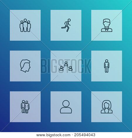 Human Outline Icons Set. Collection Of Team, Social Relations, Worker And Other Elements