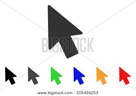 Mouse Pointer icon. Vector illustration style is a flat iconic mouse pointer symbol with black, gray, green, blue, yellow color versions. Designed for web and software interfaces.