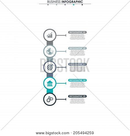 Business data, chart. Abstract elements of graph, diagram with 5 steps, strategy, options, parts or processes. Vector business template for presentation. Creative concept for infographic