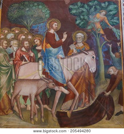 Fresco In San Gimignano - Jesus Enters Jerusalem