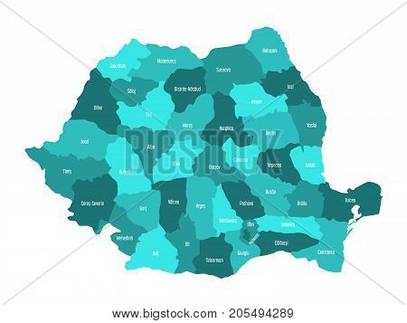 Administrative counties of Romania. Vector map in four shades of turquoise blue.