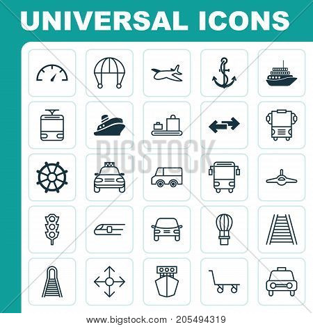 Transportation Icons Set. Collection Of Taxi, Railway, Transport And Other Elements