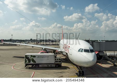 DUSSELDORF, GERMANY - SEPTEMBER 03, 2017: Airbus A320 Air Berlin at the airport of Dusseldorf while taxiing