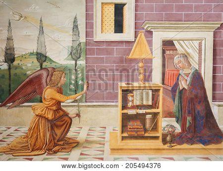 Fresco In San Gimignano - The Annunciation