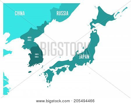 Political map of Korean and Japanese region, South Korea, North Korea and Japan. Turquoise blue map with white labeling on white background. Vector illustration.