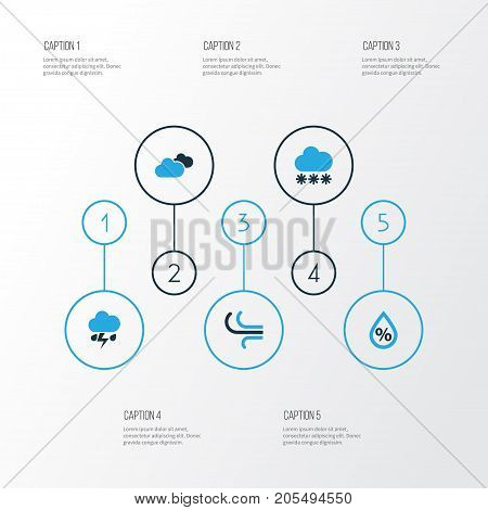 Climate Colorful Icons Set. Collection Of Wind, Snowfall, Humidity And Other Elements