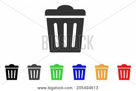 Trash Can icon. Vector illustration style is a flat iconic trash can symbol with black, grey, green, blue, yellow color versions. Designed for web and software interfaces.