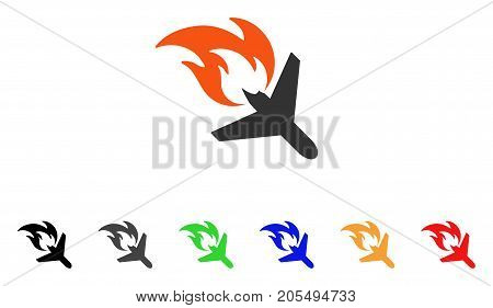 Airplane Fire Disaster icon. Vector illustration style is a flat iconic airplane fire disaster symbol with black, gray, green, blue, red, orange color variants.