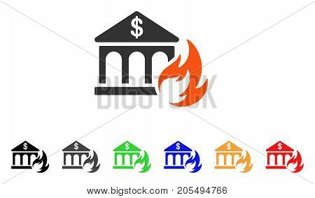 Bank Fire Disaster icon. Vector illustration style is a flat iconic bank fire disaster symbol with black, gray, green, blue, red, orange color additional versions.