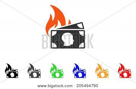 Banknotes Fire Disaster icon. Vector illustration style is a flat iconic banknotes fire disaster symbol with black, gray, green, blue, red, orange color versions.