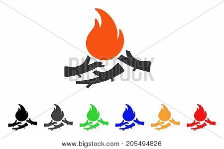 Bastard Campfire icon. Vector illustration style is a flat iconic bastard campfire symbol with black, grey, green, blue, red, orange color variants. Designed for web and software interfaces.