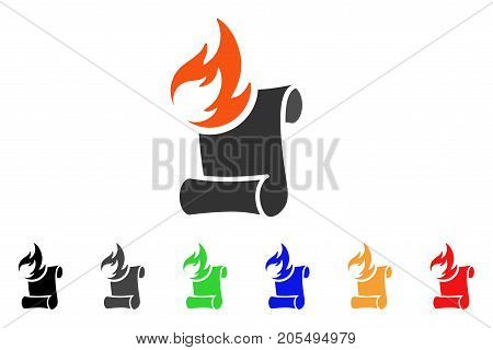 Burn Manuscript icon. Vector illustration style is a flat iconic burn manuscript symbol with black, gray, green, blue, red, orange color versions. Designed for web and software interfaces.