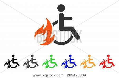 Burn Patient icon. Vector illustration style is a flat iconic burn patient symbol with black, grey, green, blue, red, orange color additional versions. Designed for web and software interfaces.