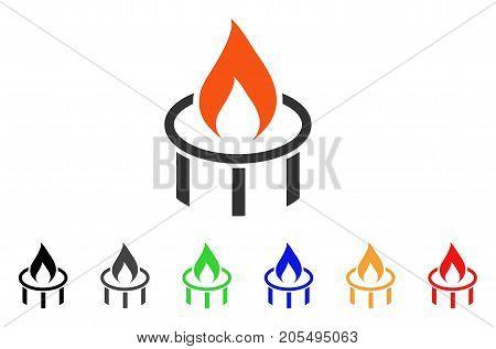 Burner Nozzle Flame icon. Vector illustration style is a flat iconic burner nozzle flame symbol with black, grey, green, blue, red, orange color additional versions. poster