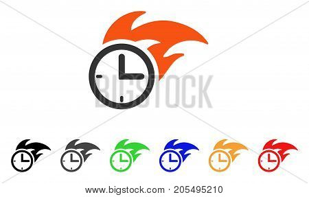 Deadline Fired Clock icon. Vector illustration style is a flat iconic deadline fired clock symbol with black, gray, green, blue, red, orange color variants. Designed for web and software interfaces.