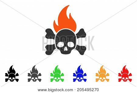 Death Fire icon. Vector illustration style is a flat iconic death fire symbol with black, gray, green, blue, red, orange color variants. Designed for web and software interfaces.