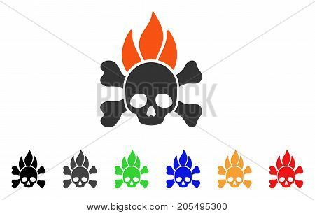 Death Fire icon. Vector illustration style is a flat iconic death fire symbol with black, gray, green, blue, red, orange color versions. Designed for web and software interfaces.