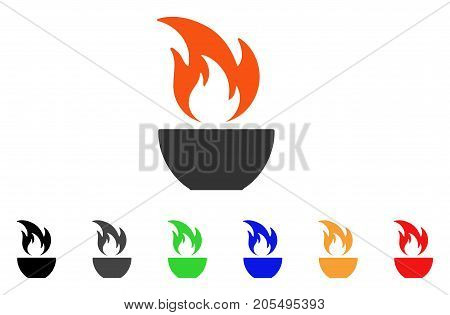 Fire Bowl icon. Vector illustration style is a flat iconic fire bowl symbol with black, grey, green, blue, red, orange color versions. Designed for web and software interfaces.