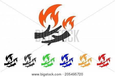 Firewood Fire icon. Vector illustration style is a flat iconic firewood fire symbol with black, gray, green, blue, red, orange color additional versions. Designed for web and software interfaces.