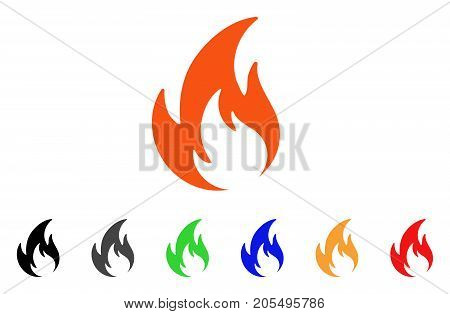 Flame icon. Vector illustration style is a flat iconic flame symbol with black, grey, green, blue, red, orange color versions. Designed for web and software interfaces.