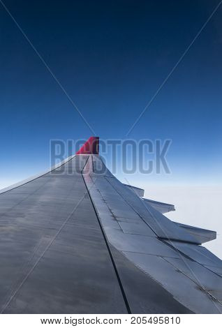 Duesseldorf, Germany 03.09.2017 wing of airplane from Air Berlin in the sky, which is second largest airline in Germany