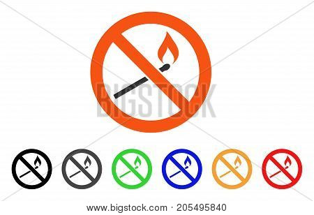 Forbidden Match Fire icon. Vector illustration style is a flat iconic forbidden match fire symbol with black, gray, green, blue, red, orange color additional versions.