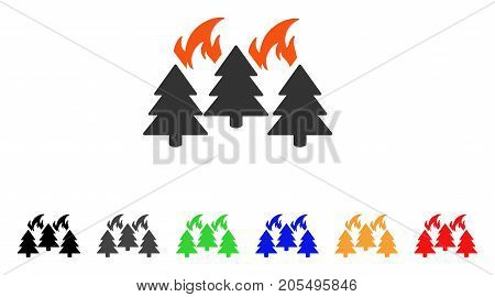 Forest Fire Disaster icon. Vector illustration style is a flat iconic forest fire disaster symbol with black, grey, green, blue, red, orange color versions. Designed for web and software interfaces.