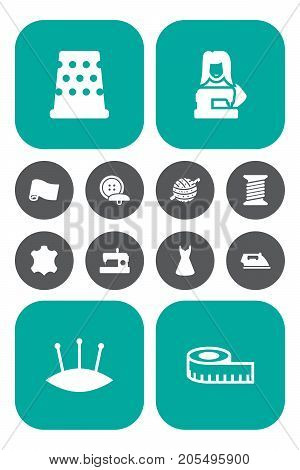 Collection Of Knitting, Flatiron, Roll And Other Elements.  Set Of 12 Sewing Icons Set.