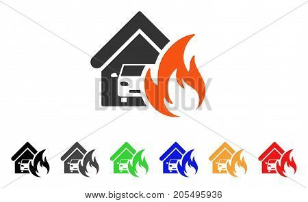 Garage Fire Disaster icon. Vector illustration style is a flat iconic garage fire disaster symbol with black, grey, green, blue, red, orange color versions. Designed for web and software interfaces.