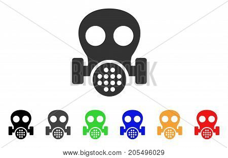 Gas Mask icon. Vector illustration style is a flat iconic gas mask symbol with black, grey, green, blue, red, orange color versions. Designed for web and software interfaces.