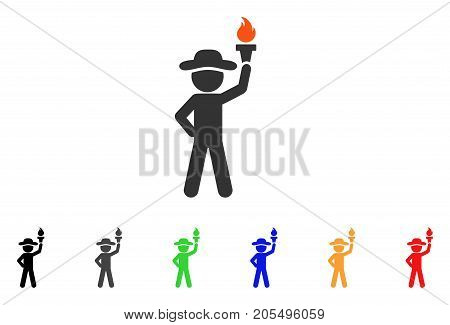 Gentleman With Freedom Torch icon. Vector illustration style is a flat iconic gentleman with freedom torch symbol with black, gray, green, blue, red, orange color additional versions.