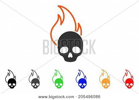 Hell Fire icon. Vector illustration style is a flat iconic hell fire symbol with black, grey, green, blue, red, orange color versions. Designed for web and software interfaces.