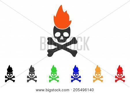 Hell Fire icon. Vector illustration style is a flat iconic hell fire symbol with black, gray, green, blue, red, orange color variants. Designed for web and software interfaces.