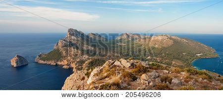 Panorama of Cape Formentor at sunset. Majorca