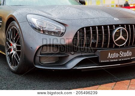 LODZ, POLAND - SEPTEMBER 16, 2017: Mercedes-AMG GT C car exhibition at the store center manufaktura