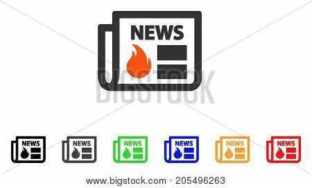 Hot News icon. Vector illustration style is a flat iconic hot news symbol with black, gray, green, blue, red, orange color versions. Designed for web and software interfaces.
