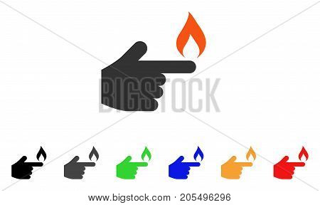 Index Finger Fire icon. Vector illustration style is a flat iconic index finger fire symbol with black, gray, green, blue, red, orange color variants. Designed for web and software interfaces.
