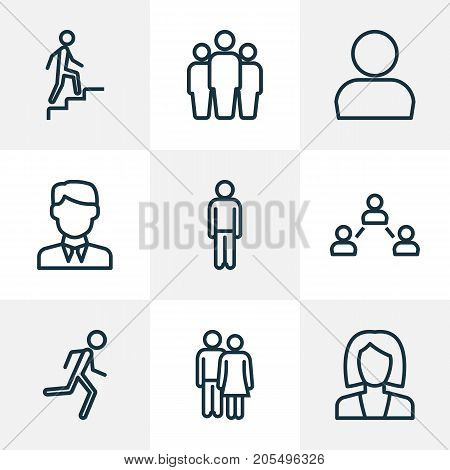 Human Outline Icons Set. Collection Of Couple, Profile, Team And Other Elements