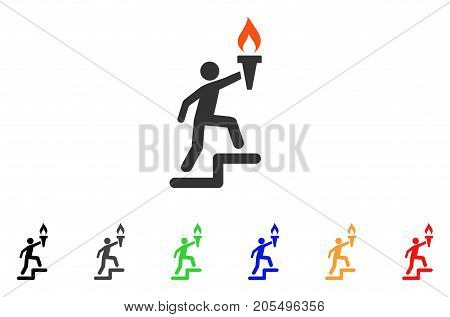 Leader Climb With Torch icon. Vector illustration style is a flat iconic leader climb with torch symbol with black, gray, green, blue, red, orange color additional versions.