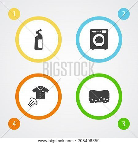 Collection Of Ironing, Detergent, Wisp And Other Elements.  Set Of 4 Cleanup Icons Set.