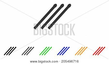 Matches icon. Vector illustration style is a flat iconic matches symbol with black, grey, green, blue, red, orange color versions. Designed for web and software interfaces.