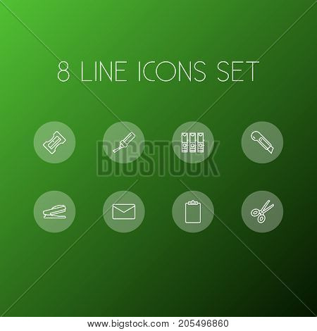 Collection Of Sharpener, Mail, File Folder And Other Elements.  Set Of 8 Tools Outline Icons Set.